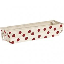 Corbeille rectangle motifs pois rouge avec poignées