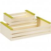 La Vannerie d'Aujourd'hui - Cagette en bois, larges lattes nature/vert
