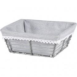 La Vannerie d'Aujourd'hui - Corbeille carrée en métal, avec tissu gris - corbeille de présentation, corbeille cadeau, corbeill