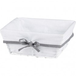La Vannerie d'Aujourd'hui - Corbeille carrée en métal avec tissu blanc