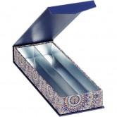 Coffret rectangle 2 rangées bleu/rosaces
