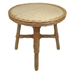 Table ronde en osier blanc