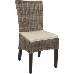 La Vannerie d'Aujourd'hui - Chaise en Kubu gris et acajou, avec coussin