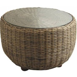 Table basse design boule en poelet de rotin gris