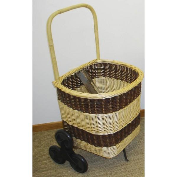 chariot bois carr 6 roues bicolore la vannerie d 39 aujourd 39 hui. Black Bedroom Furniture Sets. Home Design Ideas
