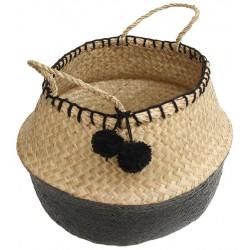 La Vannerie d'Aujourd'hui - Panier boule thaïlandais en jonc naturel et noir avec pompons