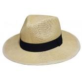 Chapeau panama mixte en papier cellulose avec bandeau noir.