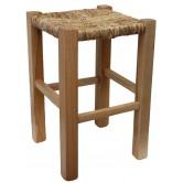 La Vannerie d'Aujourd'hui - Tabouret en bois et paille, aspect rustique