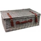 La Vannerie d'Aujourd'hui - Petite valise en osier gris poignées cuir