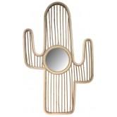 Miroir en rotin et kubu gris design Cactus