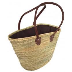 La Vannerie d'Aujourd'hui - Couffin palmier naturel fermeture tissu, anses cuir rondes