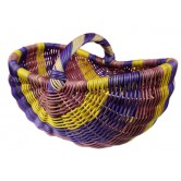 Panier en rotin parme, jaune et violet