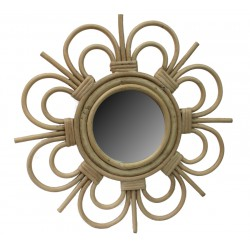 La vannerie d 39 aujourd 39 hui miroir en rotin design fleur petit mod le - Miroir en rotin ...