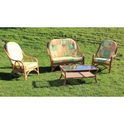 DESTOCKAGE !! Salon en rotin de 4 pièces (canapé, 2 fauteuils, table basse)