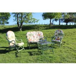 DESTOCKAGE !! Salon en rotin vert de 4 pièces (canapé, 2 fauteuils, table basse)