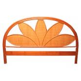 DESTOCKAGE !! Tête de lit en rotin et cannage coloris miel, 140 cm, motif floral