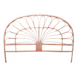 DESTOCKAGE !! Tête de lit en rotin, coloris cérusé rose, 140 cm