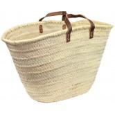 La Vannerie d'Aujourd'hui - Couffin en palmier naturel et anses en cuir plat