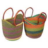 La Vannerie d'Aujourd'hui - Cabas africain cintré aux coloris panachés
