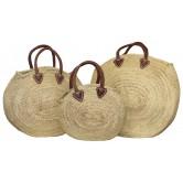 La Vannerie d'Aujourd'hui - Cabas rond en palmier, anses courtes cuir