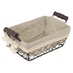 La Vannerie d'Aujourd'hui - Corbeille grillage rectangulaire, tissu coton et poignées en bois