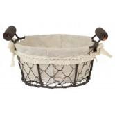 La Vannerie d'Aujourd'hui - Corbeille en grillage ronde, tissu coton et poignées en bois