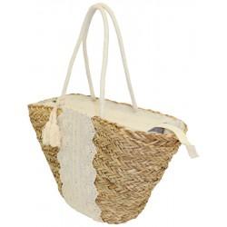 Couffin en jonc de mer naturel, décoration en tissu et anses en corde
