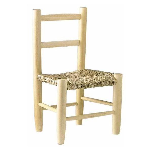 Chaise enfant paille bois naturel la vannerie d 39 aujourd 39 hui for Chaise enfant bois