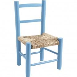 La Vannerie d'Aujourd'hui - Chaise bleu ciel pour enfant pas chère en bois et paille