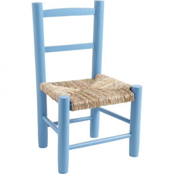 Chaise enfant paille bois bleu ciel la vannerie d for Chaise cuisine bois paille