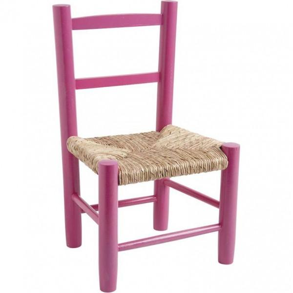 Chaise enfant paille bois framboise la vannerie d for Chaise cuisine bois paille