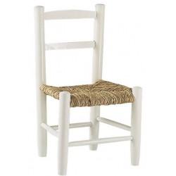 Chaise Enfant Paille Bois Laqu Blanc