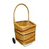 La Vannerie d'Aujourd'hui - Chariot à bois carré 2 roues osier buff/teinté