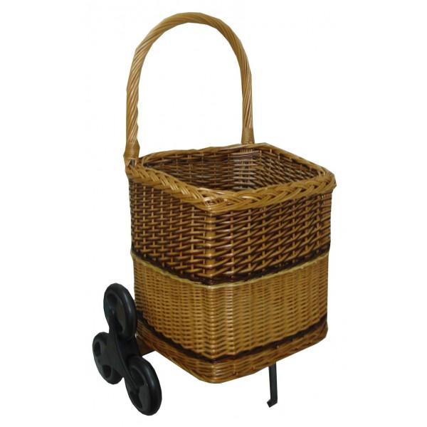 Chariot à bois bombé 6 roues bicolore - La Vannerie d'aujourd'hui