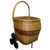 La Vannerie d'Aujourd'hui - Chariot à bois en osier spécial escaliers, 6 roues