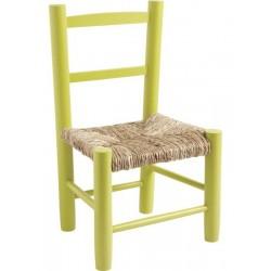 La Vannerie d'Aujourd'hui - Chaise enfant pas chère en bois coloris vert anis et paille
