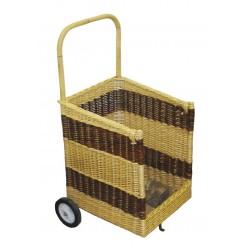 La Vannerie d'Aujourd'hui - Chariot à bois carré en osier 2 tons, avec 2 roues
