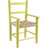 La Vannerie d'Aujourd'hui - Fauteuil enfant bois laqué vert anis, assise en paille