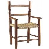 La Vannerie d'Aujourd'hui - Fauteuil enfant en bois foncé et assise en paille