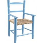 La Vannerie d'Aujourd'hui - Fauteuil pour enfant bois laqué bleu ciel, assise en paille