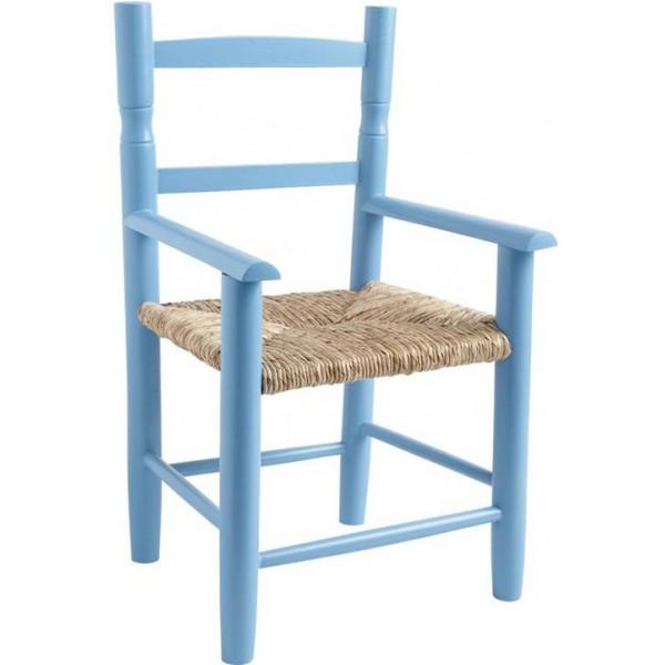 Fauteuil enfant paille bois bleu ciel la vannerie d 39 aujourd 39 hui - Fauteuil enfant bleu ...