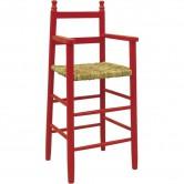 Chaise haute enfant bois rouge