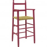 Chaise haute enfant bois framboise