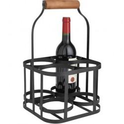 panier 4 bouteilles m tal noir la vannerie d 39 aujourd 39 hui. Black Bedroom Furniture Sets. Home Design Ideas