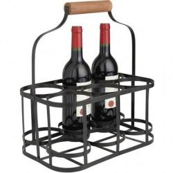 La Vannerie d'Aujourd'hui - Panier pour 6 bouteilles en métal noir