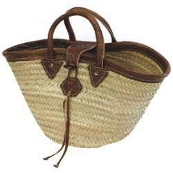 La Vannerie d'Aujourd'hui - Couffin en palmier avec une boucle en cuir