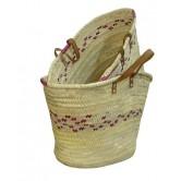 La Vannerie d'Aujourd'hui - Couffin en palmier coloré, anses en cuir