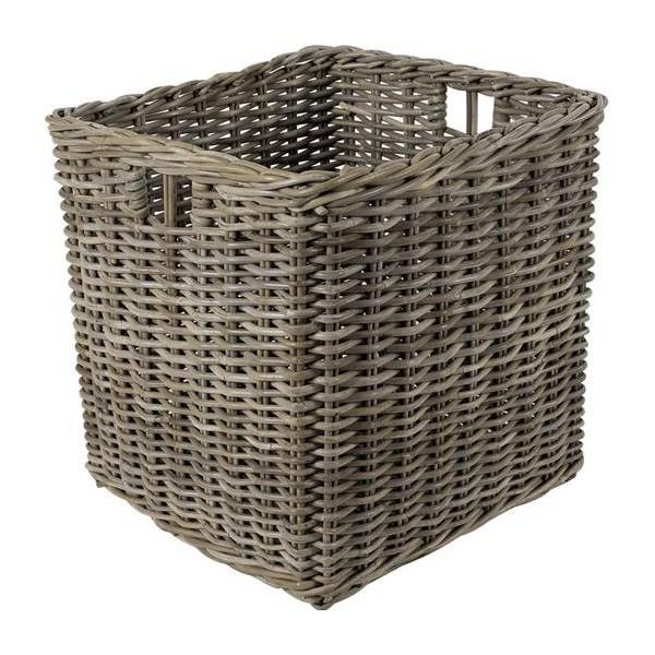 Cache pot carr rotin gris la vannerie d 39 aujourd 39 hui for Le rotin d aujourd hui