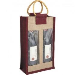 La Vannerie d'Aujourd'hui - Sac jute poignées rotin pour 2 bouteilles