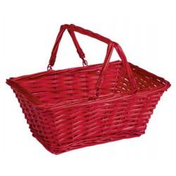 La Vannerie d'Aujourd'hui - Panier rectangulaire éclisse rouge anses mobiles